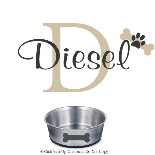 Dog Name Wall Decal Personalized Custom Home Decor Wall Art Dish - Custom vinyl wall decals dogs