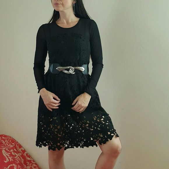 Black Long Sleeve Embroidered Lace Flare Dress Type Skater Pattern