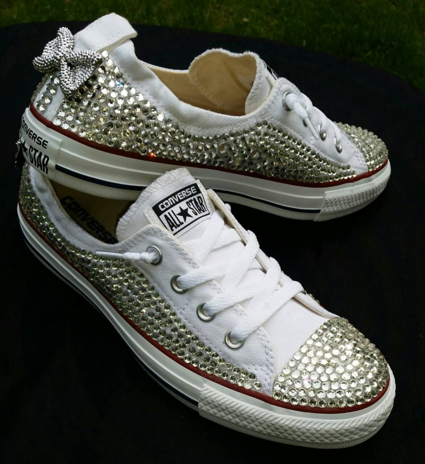 Full Bling Bridal Converse- Wedding Converse- Bling & Pearls Custom ...