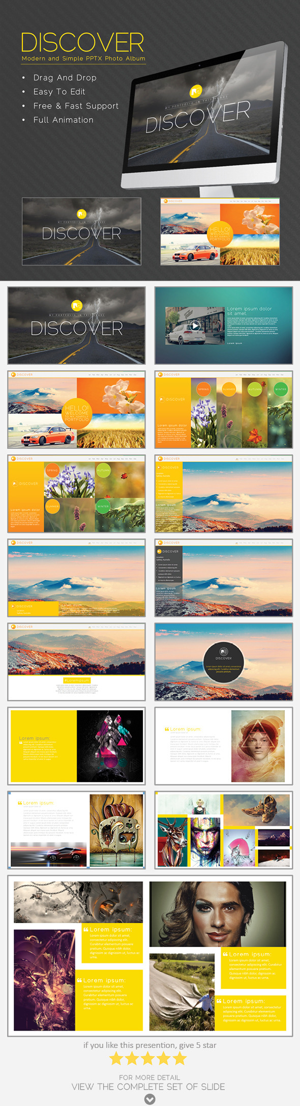 Discover Modern And Simple Pptx Photo Album Powerpoint Templates