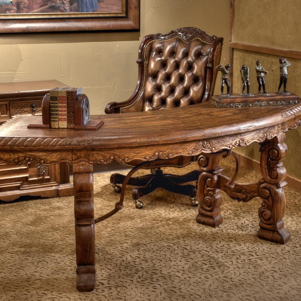 Bon Half Moon Carved Desk | Brumbaughu0027s Fine Home Furnishings | Upscale |  Western | Fort Worth TX