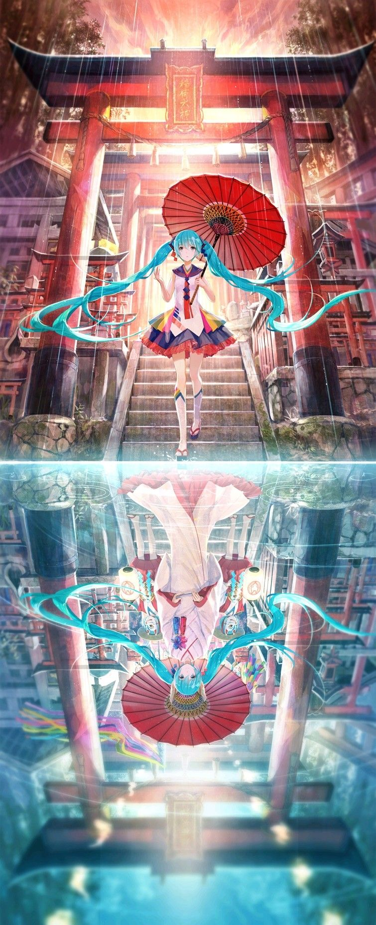 Realidad vs. perspectiva en el reflejo.  Hatsune Miku.
