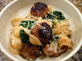 Meatballs with Orecchiette, Kale and Pine Nuts
