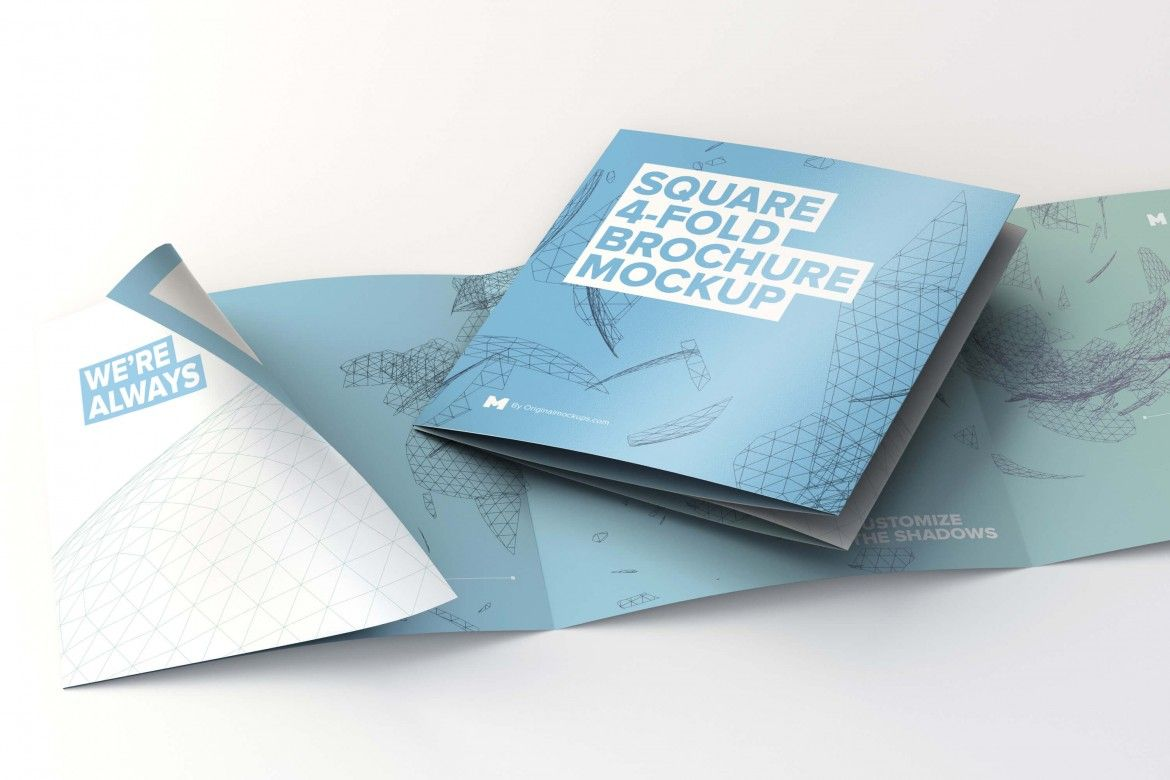 Folded And Unfolded Square FoldBrochure Mockup  Original