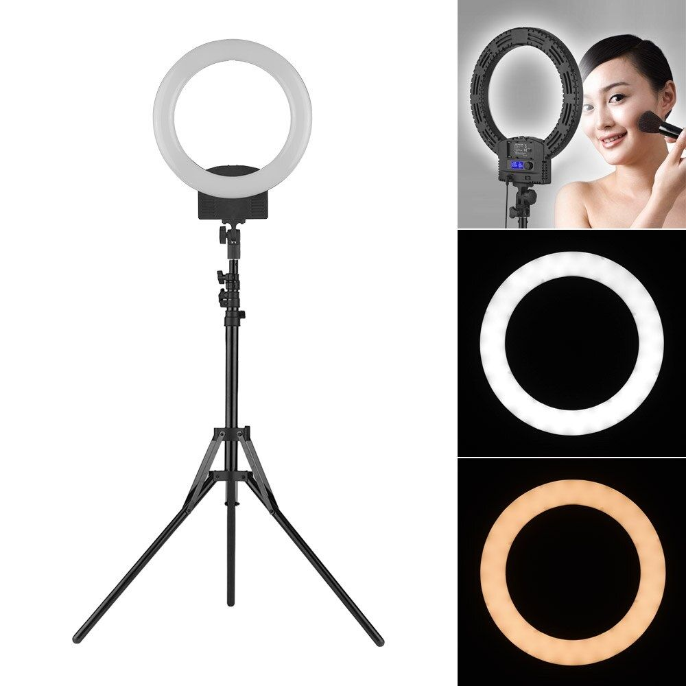 12 Inch Portable Led Video Ring Light Studio Photography Lamp Lcd Display Bi Color Temperature Adjust In 2020 Portable Led Led Ring Light Adjustable Lighting