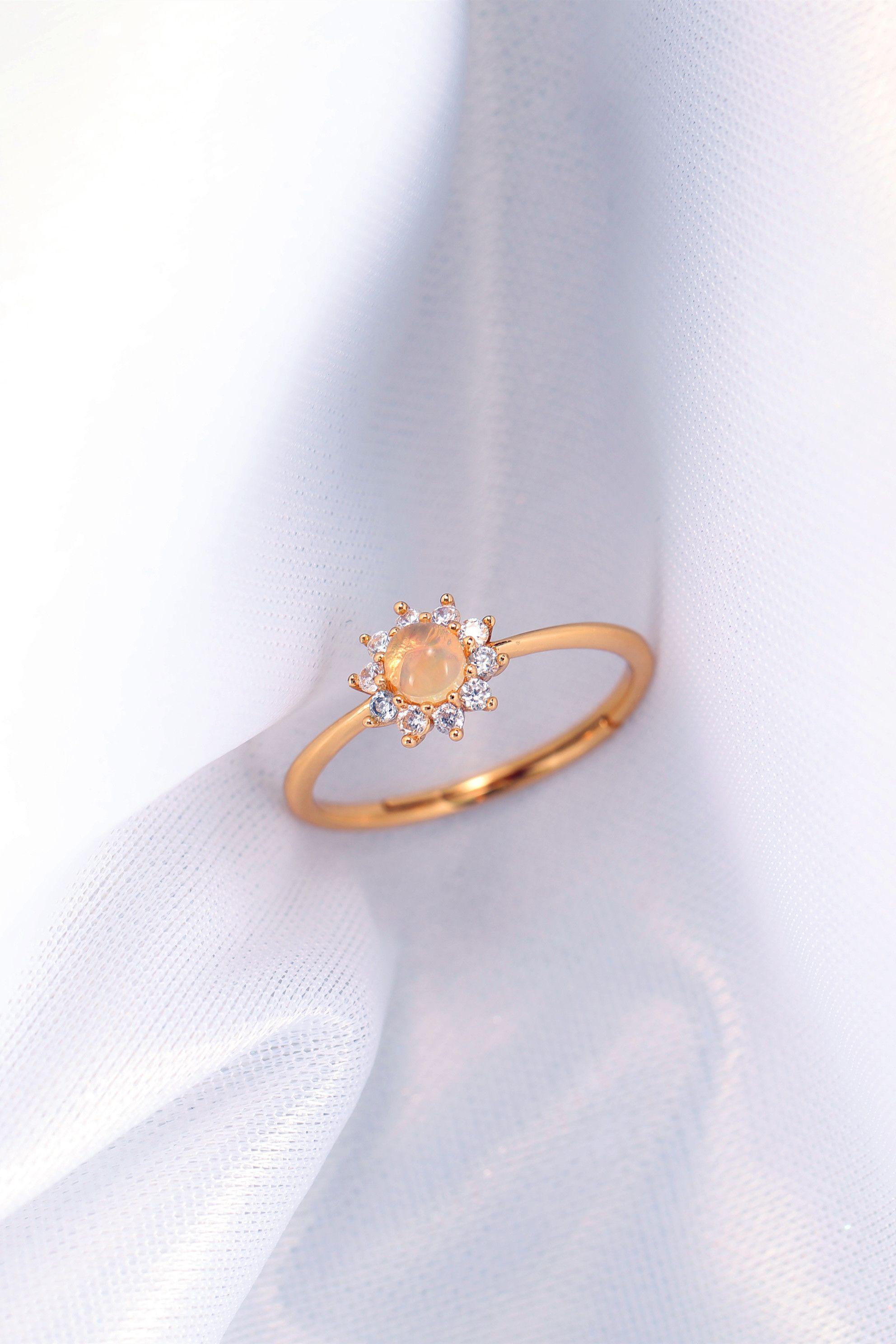 Natural Opal Sunflower Rings Adjustable