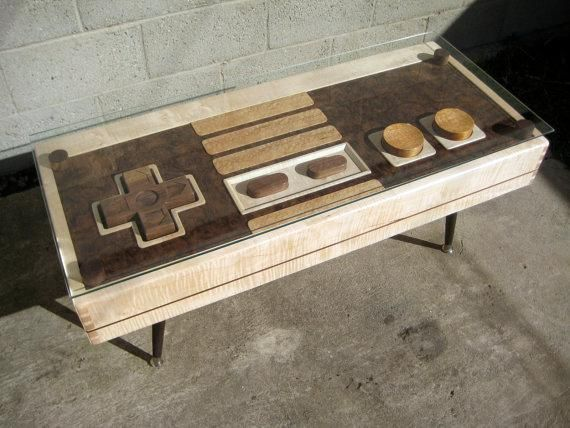 """WANT ONE! """"Wooden NES coffee tabled doubles up as a fully functional controller as well"""""""