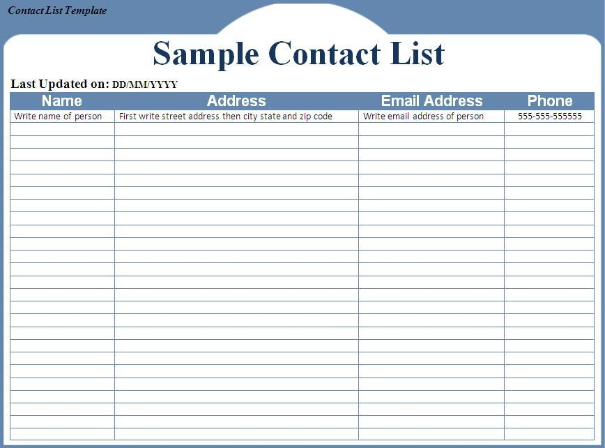 contact list template word excel formats printable free templates - contacts template word