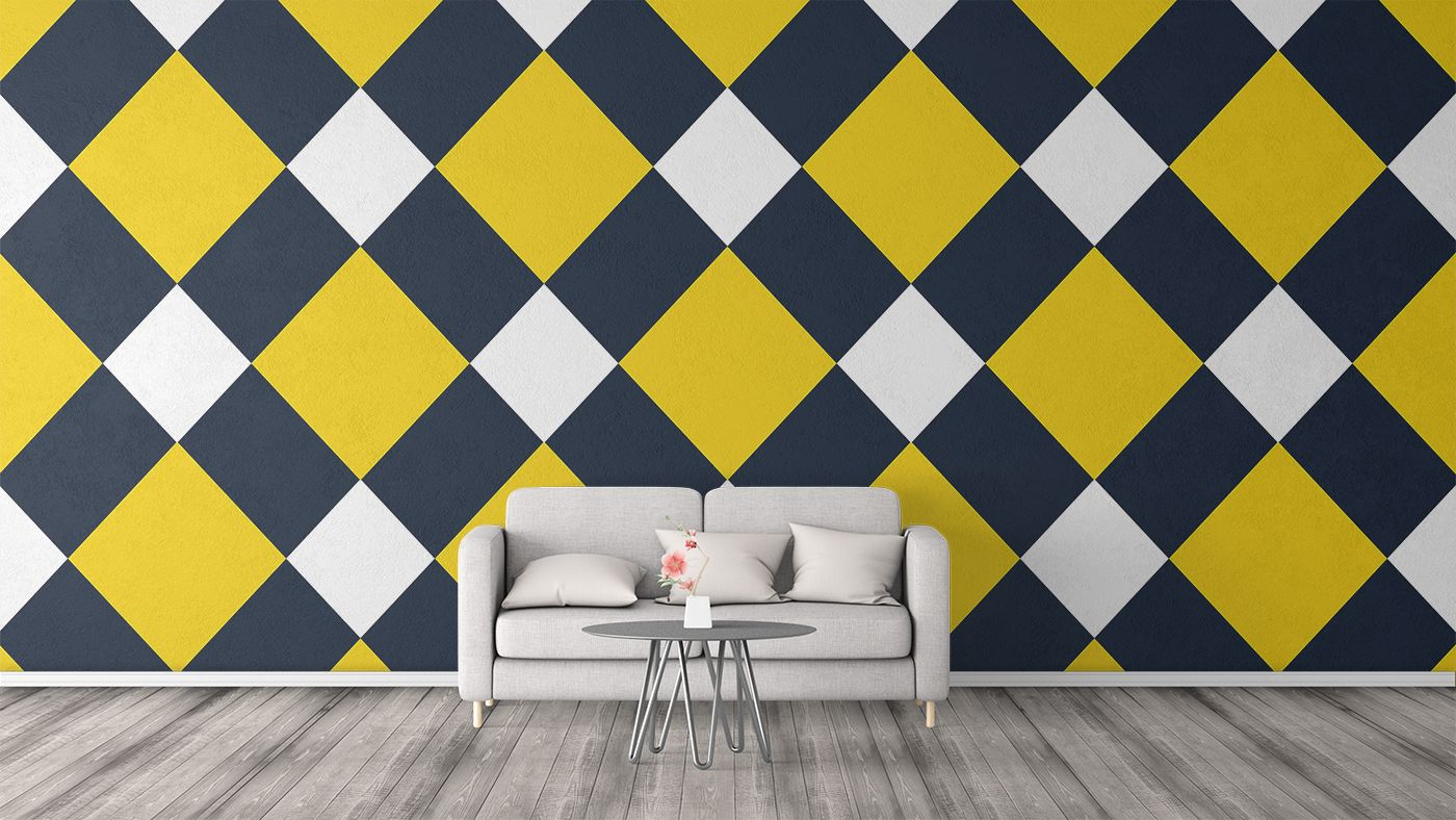 Yellow and blue checkered pattern used as design for wall art ...