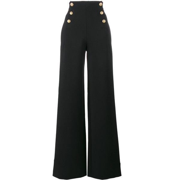 Alberta Ferretti high waisted sailor button trousers ($580) ❤ liked on  Polyvore featuring pants