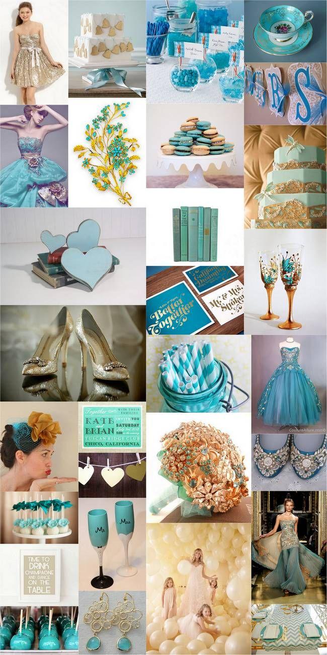 Teal turquoise gold wedding theme inspiration turquoise for Teal wedding theme ideas