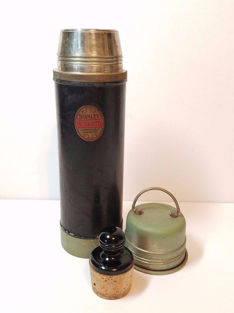 1913 Stanley Ferrostat Vacuum Bottle Porcelain Cobalt Blue