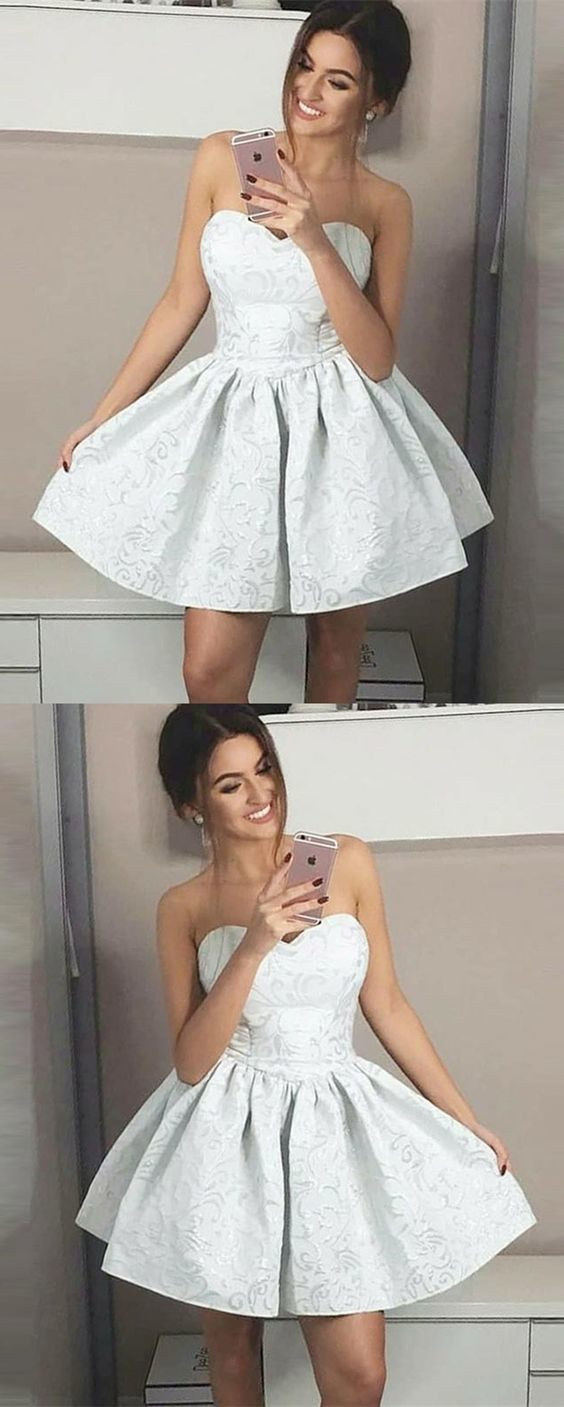 Cute sweetheart a line short homecoming dresses grey printed above