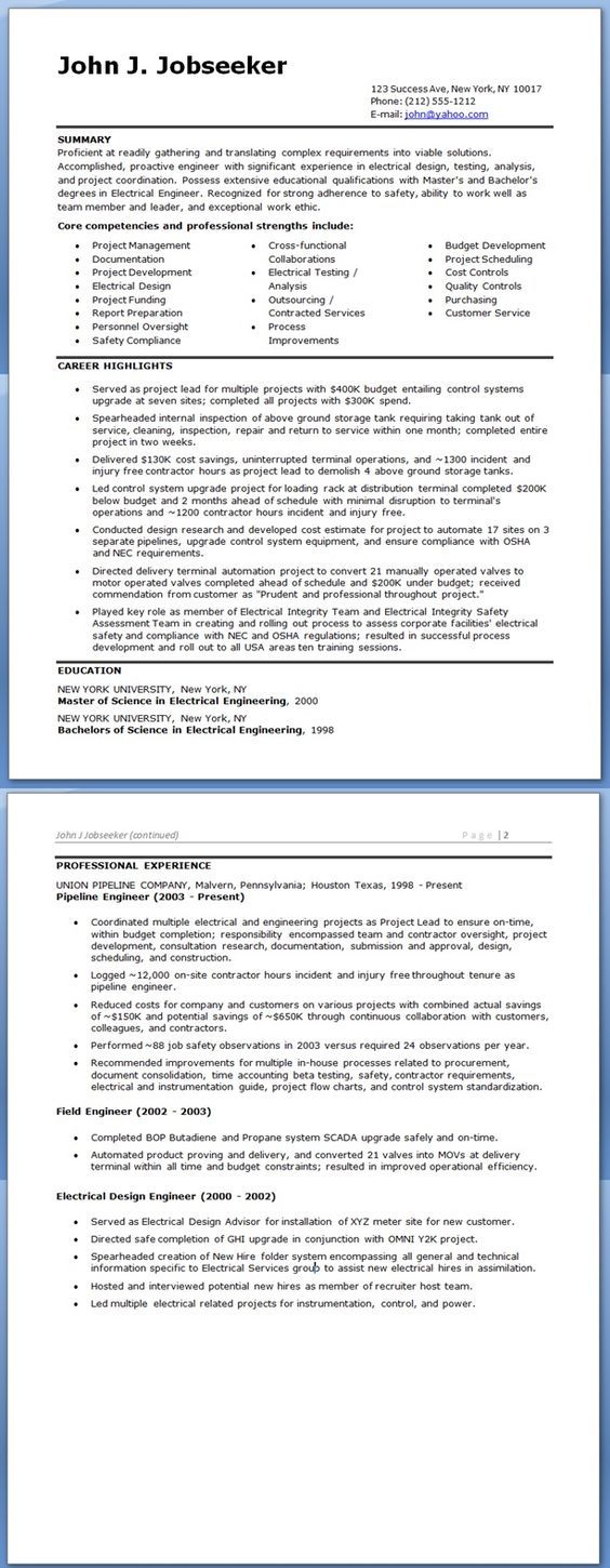 Electrical Engineer Resume Sample Doc Experienced Resume Help