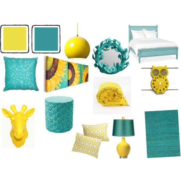 "Gray And Teal Living Room By Jurzychic On Polyvore: ""Yellow And Teal Bedroom"" By Pet387 On Polyvore"
