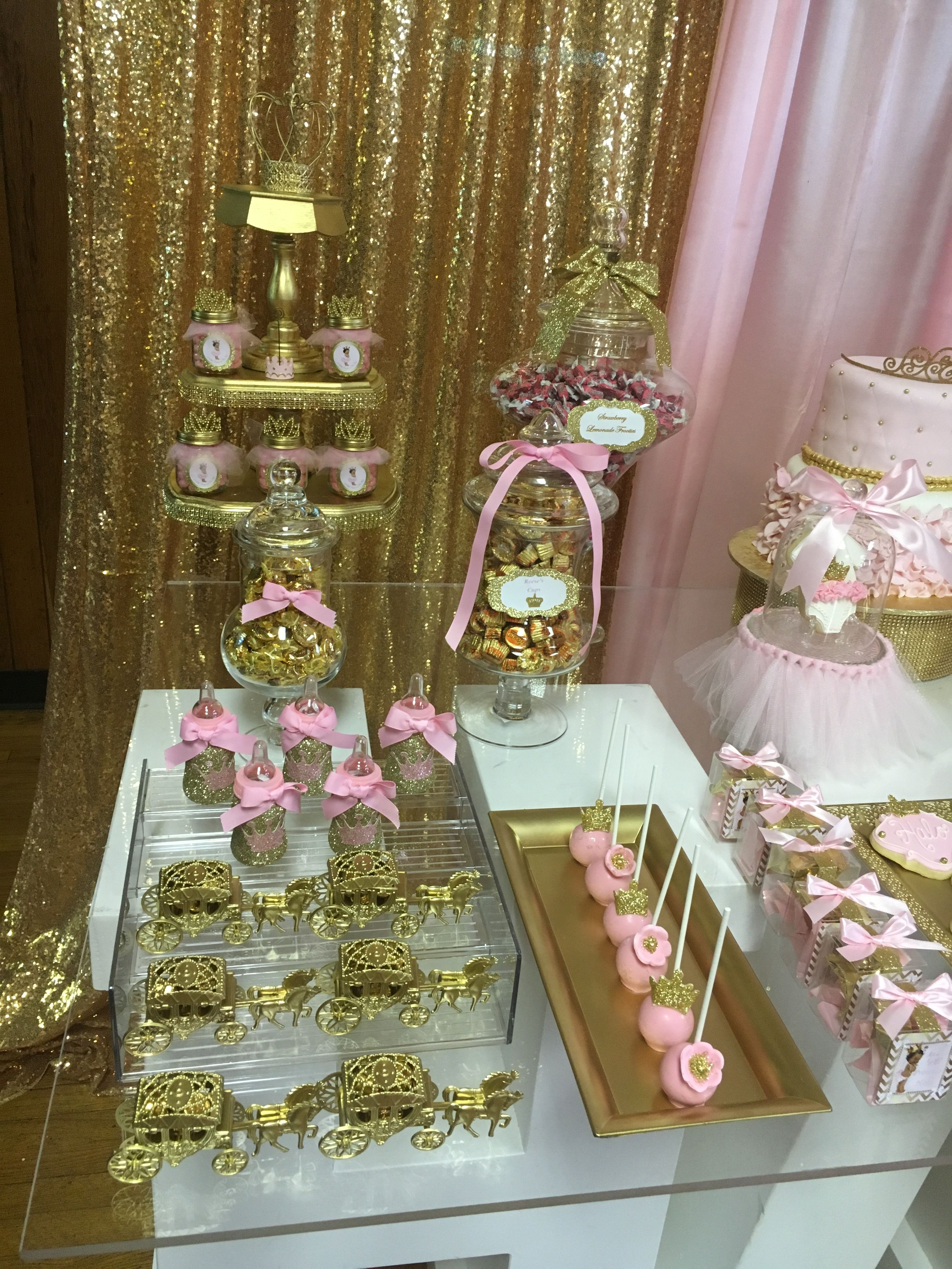 princess favors pink and gold baby shower candy table royal shower