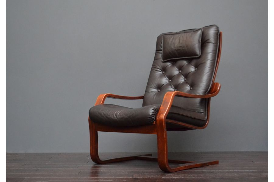 Vintage Retro Mid Century Norwegian Danish Rosewood Brown Leather Bentwood Lounge Chair By Ingmar Relling