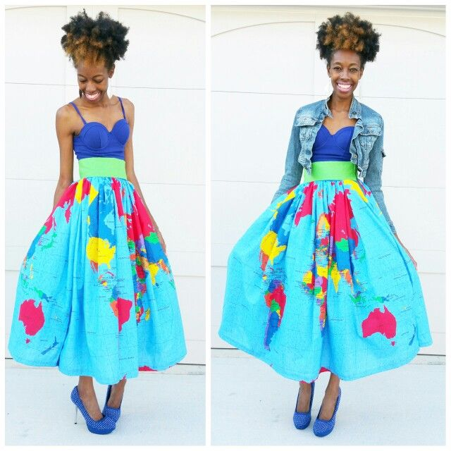 World Map Skirt Entire Map Of The World On Both Sides Diy Skirt