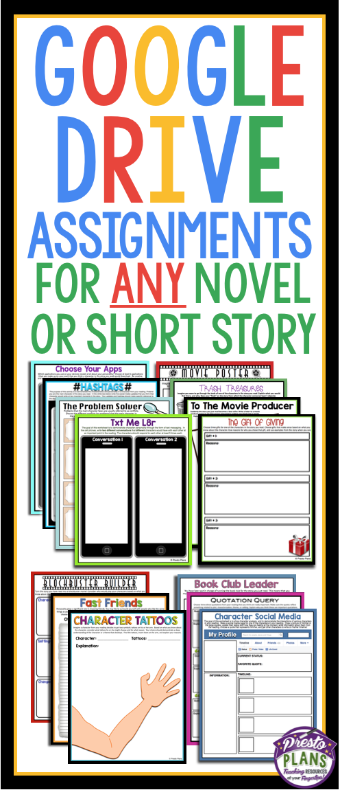 Digital paperless assignments for any reading - google drive or