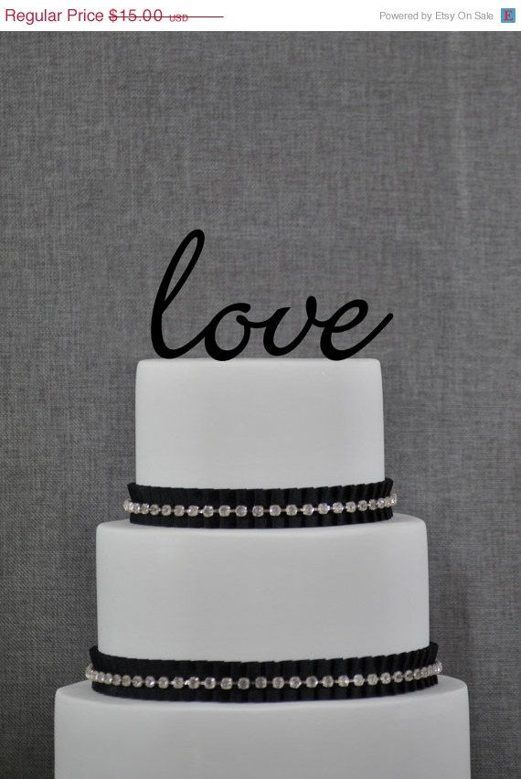 Script LOVE Wedding Cake Topper, Custom Romantic Wedding Cake Decoration in your Choice of Color, Modern and Elegant Wedding Cake Toppers