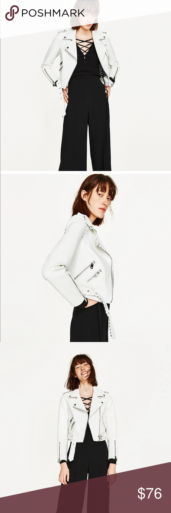 Zara White Faux Leather Moto Biker Jacket Sz L White