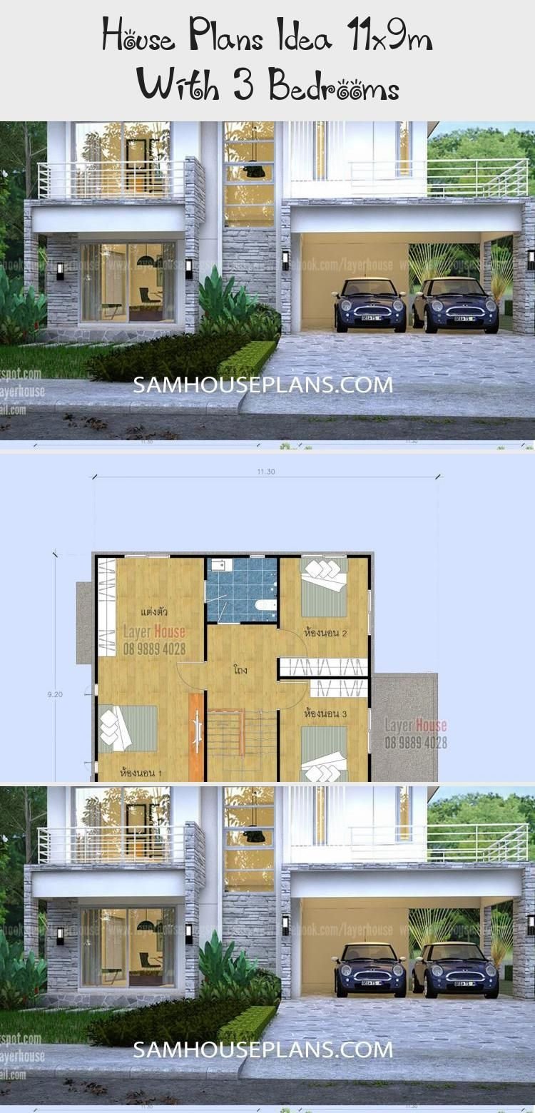House Plans Idea 11x9m With 3 Bedrooms Sam House Plans Modernhouseplansfarmhouse Modernhouseplansexterio In 2020 House Plans House Plans Farmhouse Pool House Plans