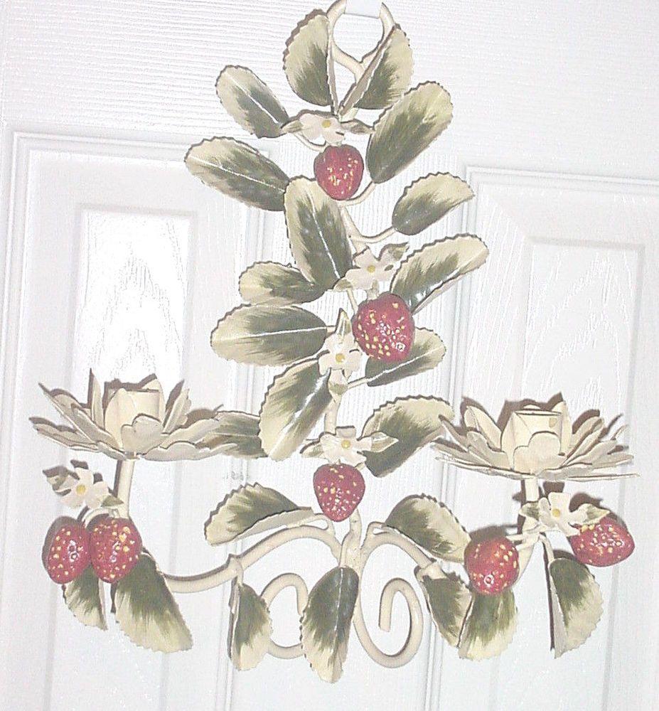 Vintage Toleware STRAWBERRIES METAL WALL SCONCE CANDLE ... on Vintage Wall Sconce Candle Holder Decorating Ideas id=33510
