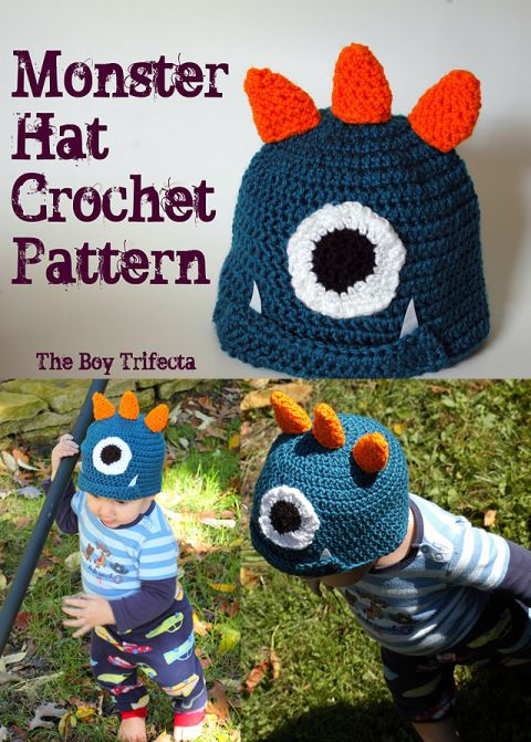 Monster crochet hat pattern FREE | Hats of Hope | Pinterest ...