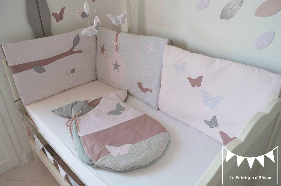 tour lit bébé fille rose poudré gris rose ancien papillons ...