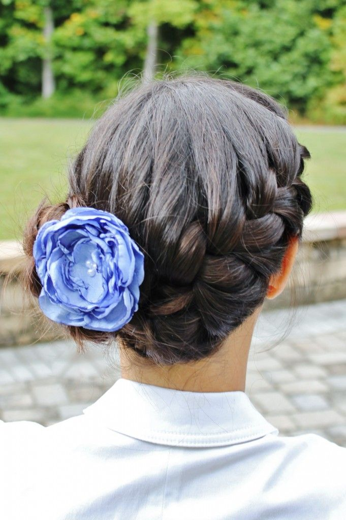 Side French Braid And Bun Periwinkle Boho Flower Side French