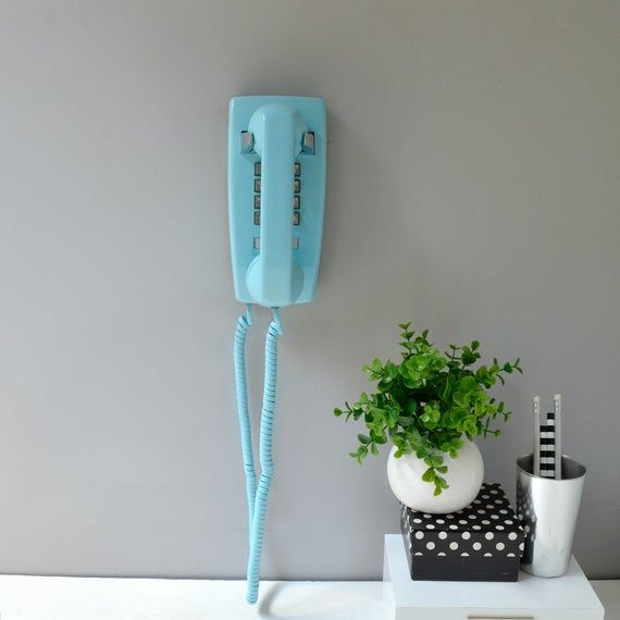 Retro wall phone in blue; working push button telephone; touch tone wall phone; vintage blue kitchen phone; push button phone #wallphone