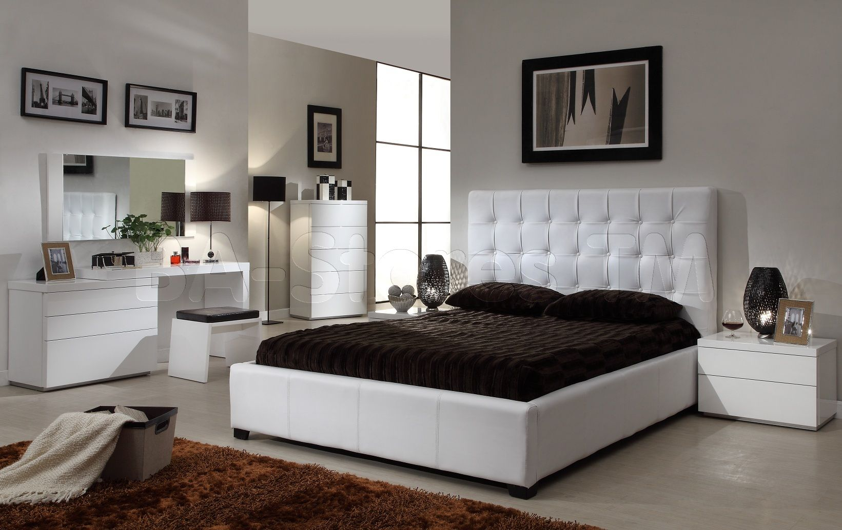 Athens 5 PC White Bedroom Set (Bed, Nightstand, Dresser, Wall ...