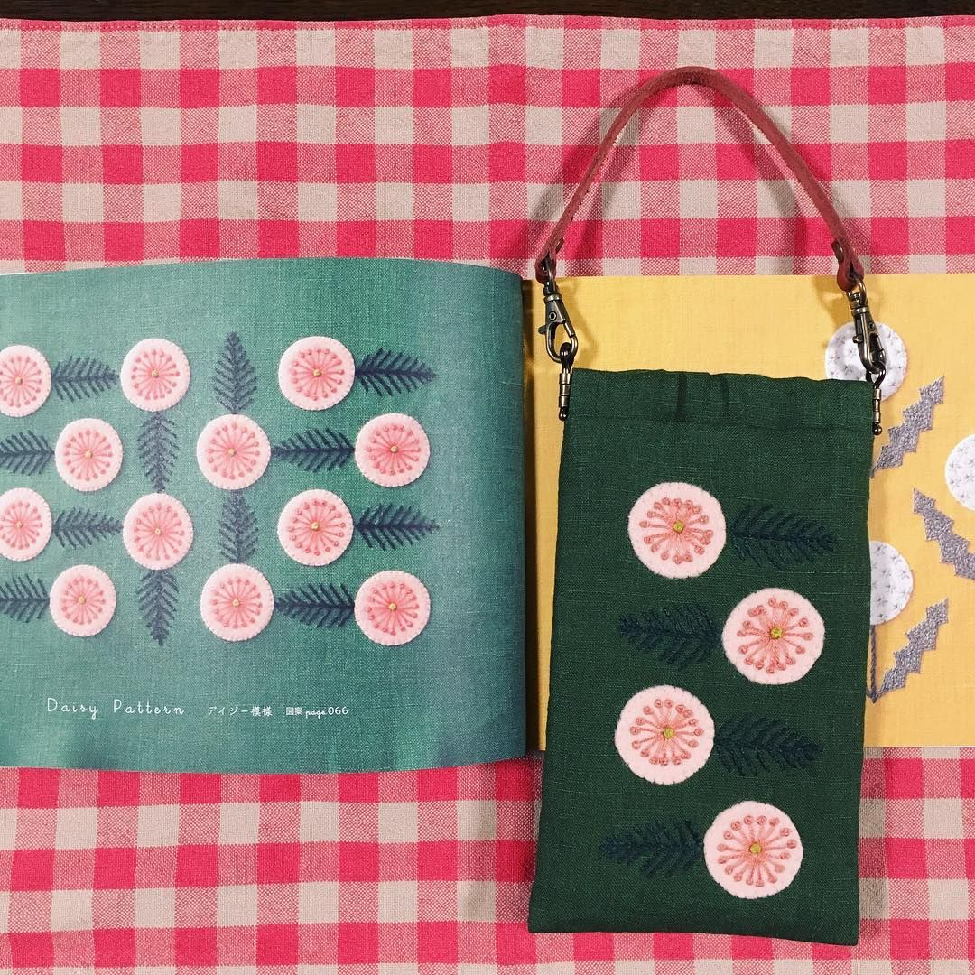 スマホポーチを作りました。 樋口愉美子のアップリケ刺しゅう の中のdaisy Patternを刺繍して