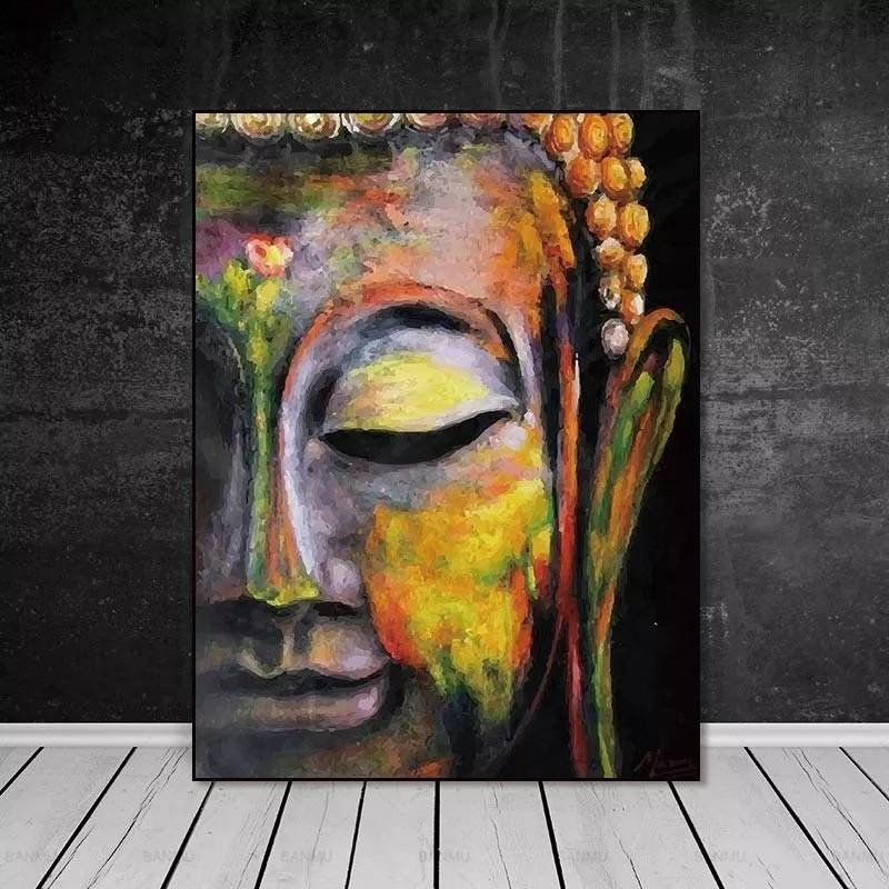 LARGE MEDITATING SLEEPING BUDDHA PAINTING WALL ART ARTWORK PRINT POSTER