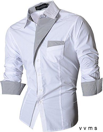 jeansian Mens Slim Fit Long Sleeves Casual Shirts 8017 White XX-Large