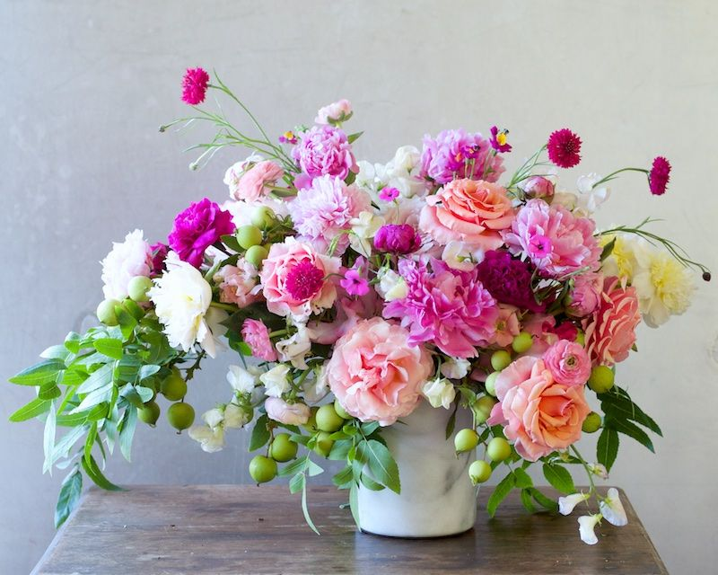 Roses In Garden: Garden Series: Peony And Walnut Centerpiece