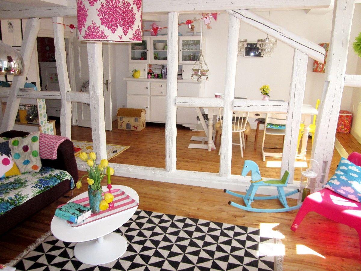 Buntes Wohnzimmer im Fachwerkhaus | Ideas for a future Home ...