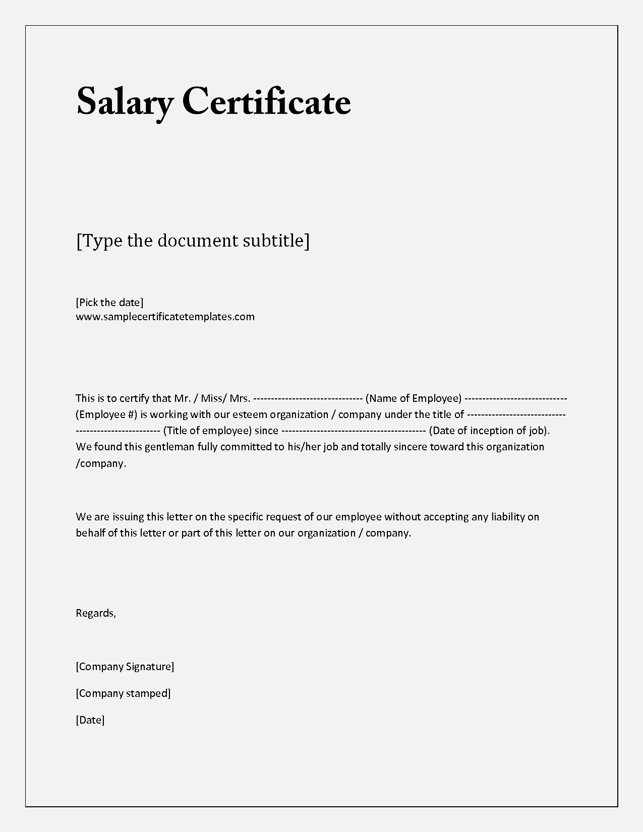 Letter Salary Certificate Sample Income Verification Examples Experience  Expense Report Template  Examples Of Employment Verification Letters