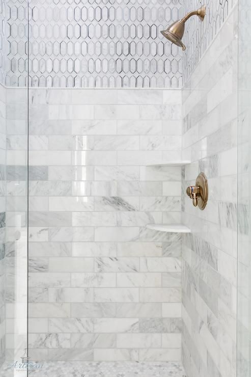 Corner Shower Displays Mixed Stacked Marble Tiles