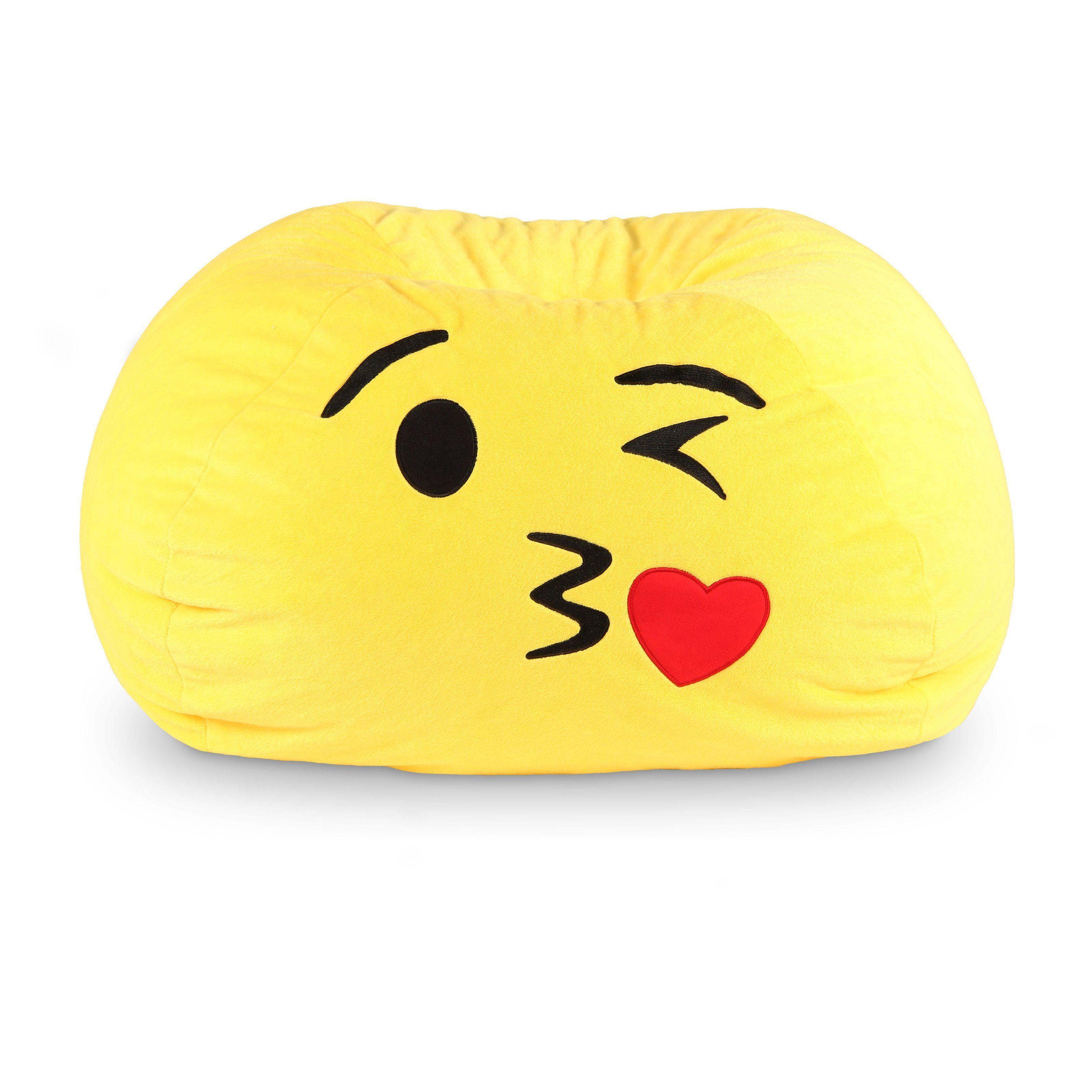 Gomoji Emoji Kiss Bean Bag Chair 9630201 Kids Bean Bags Emoji Bean Bag Yellow Bean Bags