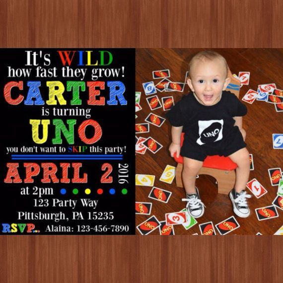 UNO Themed Birthday Party Invitation One Year Old
