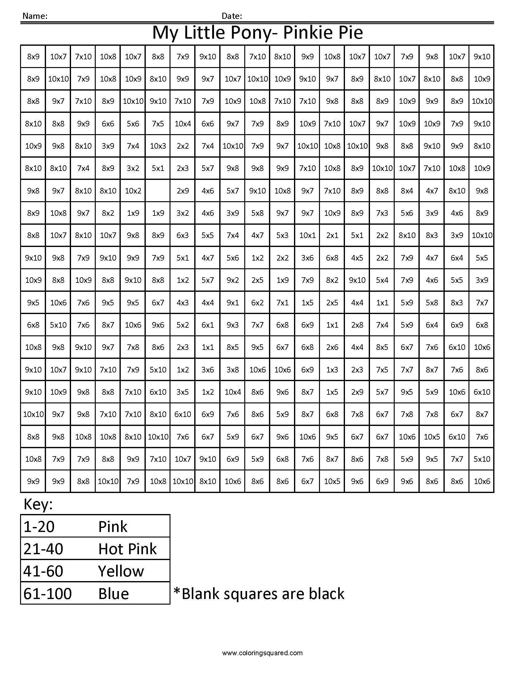 My Little Pony Advanced Multiplication Worksheet – Multiplication Mystery Picture Worksheets