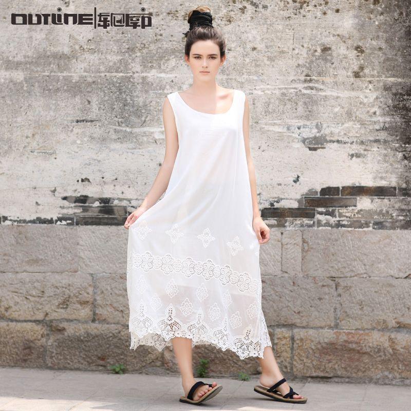 Outline Brand Vintage Beach Dress National Trend Black White Plus