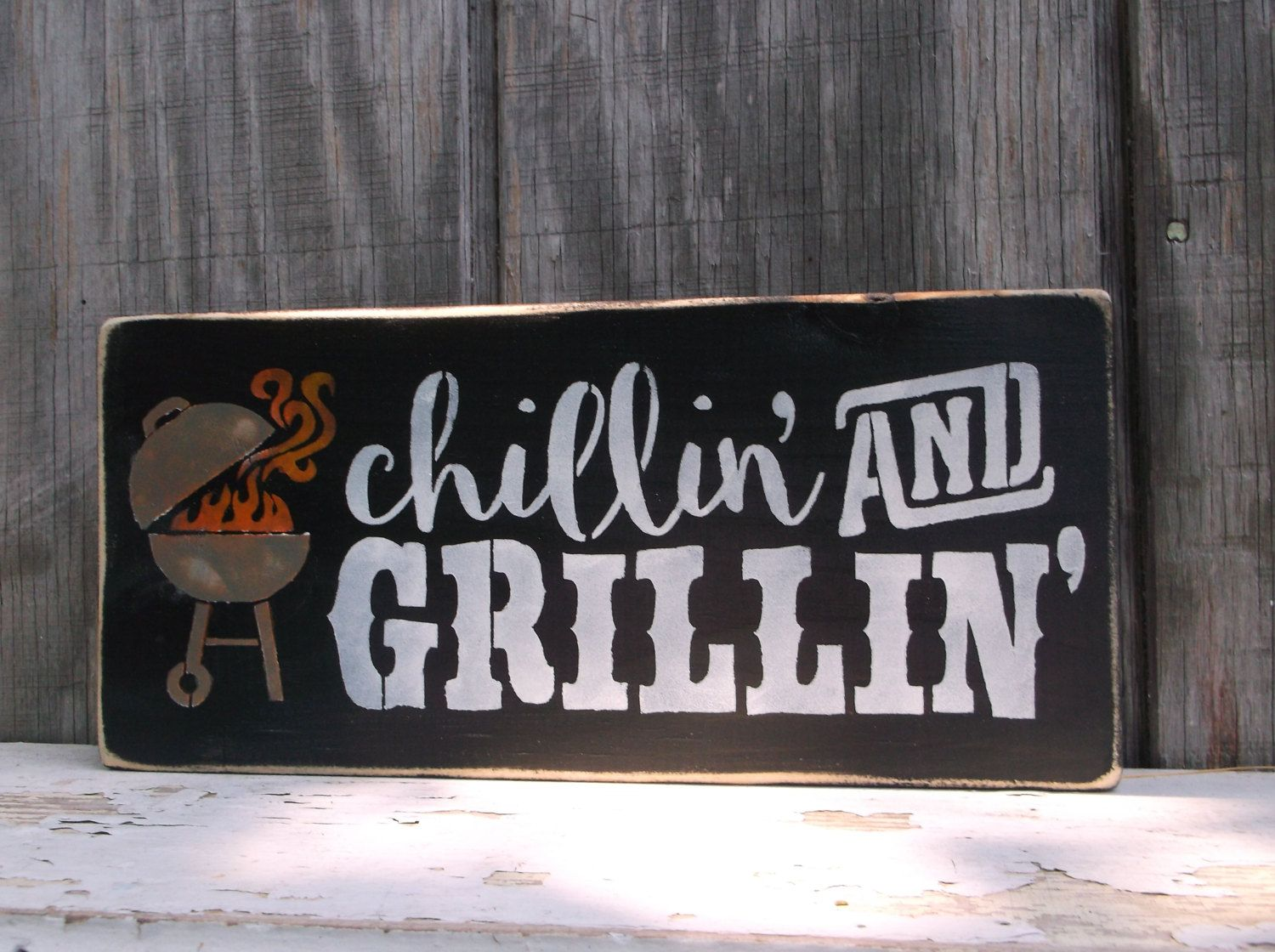 Grillin' And Chillin' BBQ Sign Backyard Barbecue Grill