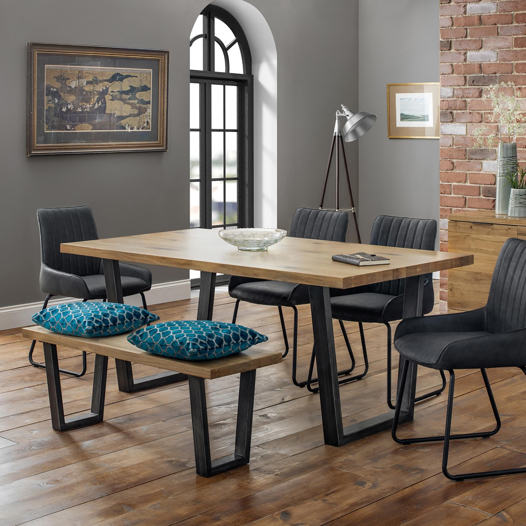 Brooklyn Oak Dining Table Set with 9 Soho Chairs and Bench in 9 ...
