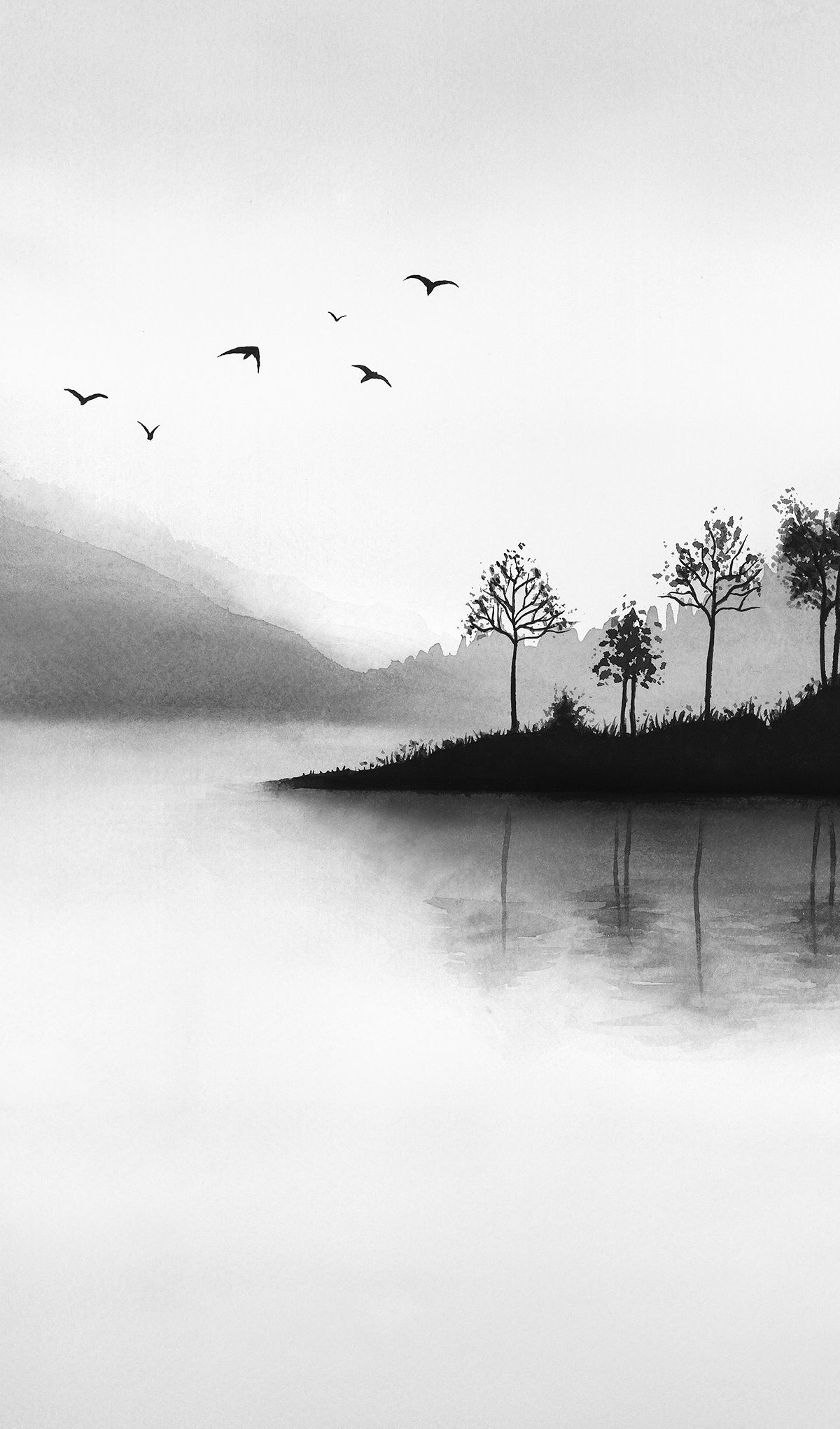 Watercolor Black And White Printable Art Misty Mountains Landscape Modern Print Lake Large Wall Art Natu Black And White Art Drawing Nature Art Nature Wall Art