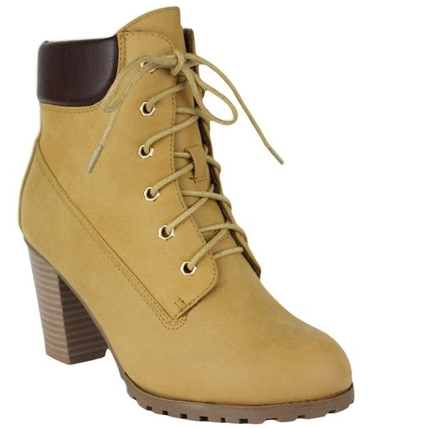 Womens Ankle Boots Rugged Lace Up High Heel Shoes Tan SZ 6 ($28) ❤