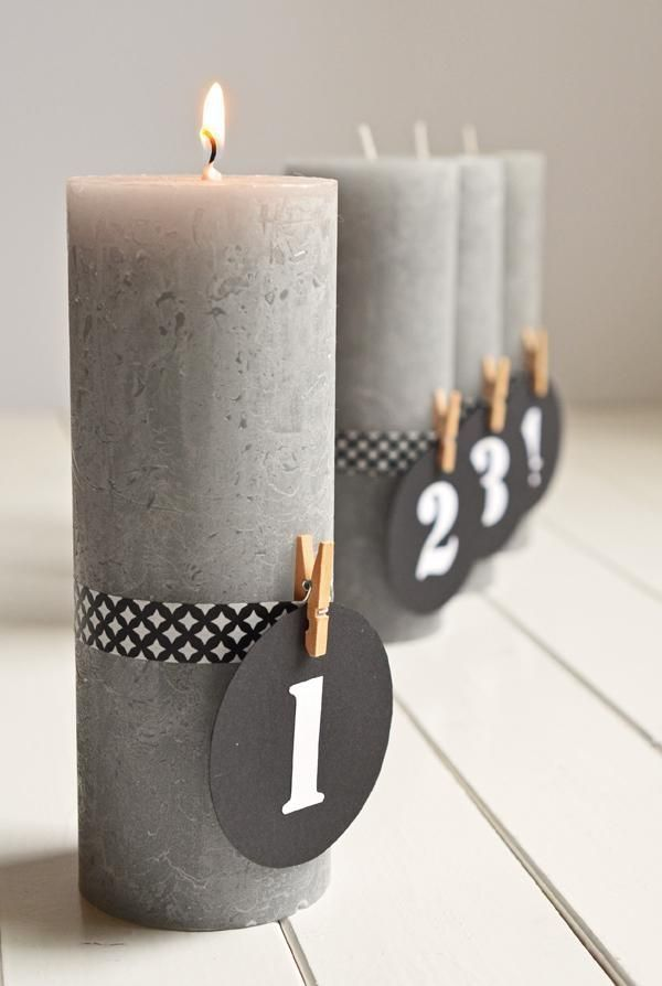 Puristischer Adventskranz ohne Tannenzweige (DIY mit Kerzen und Maskingtape) #calendrierdelaventdiy
