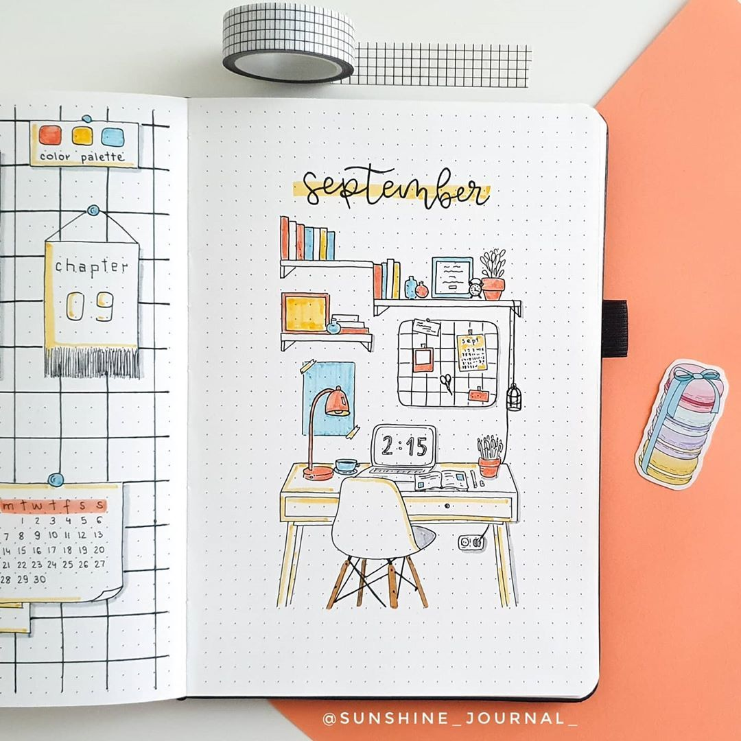 """Claudia   17   Bullet journal on Instagram: """"SEPTEMBER THEME REVEAL☀️ Since it's back to school season, I decided to do this stationery/desk/grid board theme! I really like the way it…"""""""