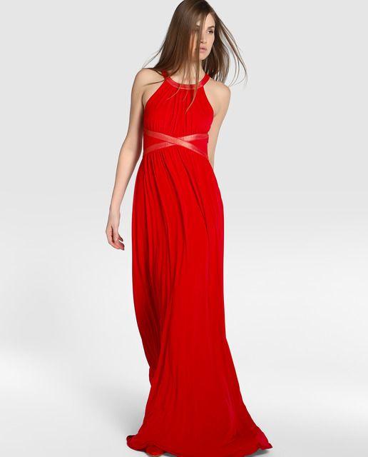 Vestido de fiesta de mujer Tintoretto con drapeado y escote halter ... c95c581bb605